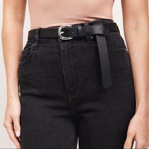 Dynamite Black Faux Leather Silver Buckle Belt